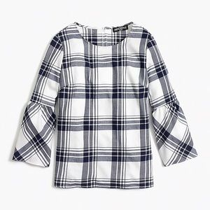 J Crew Mercantile • Flannel Peplum Top